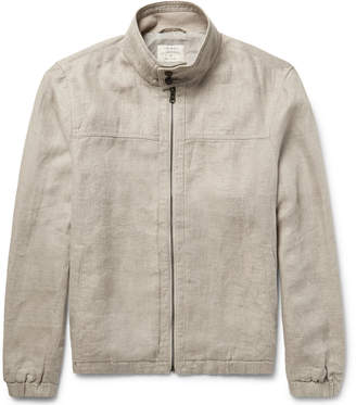 Club Monaco Herringbone Linen Harrington Jacket $260 thestylecure.com