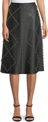 Derek Lam Studded A-Line Midi Leather Skirt