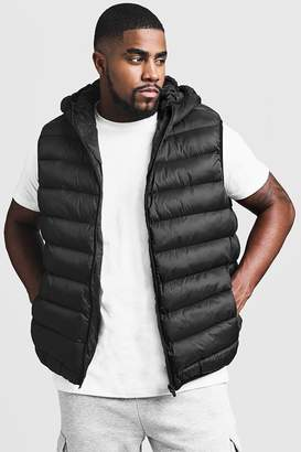 boohoo Big And Tall Quilted Hooded Gilet
