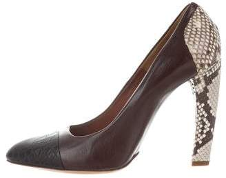 Dries Van Noten Cap Toe Snakeskin-Accented Pumps