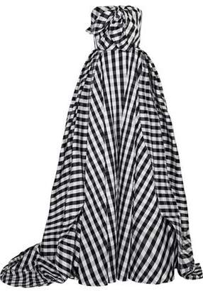 Carolina Herrera Strapless Bow-Embellished Checked Taffeta Gown