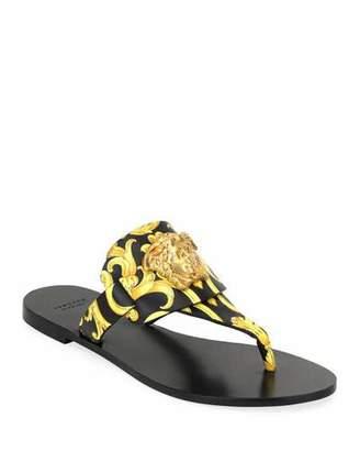 Versace Hibiscus Flat Thong Slide Sandals