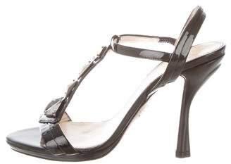 Prada Embellished T-Strap Sandals
