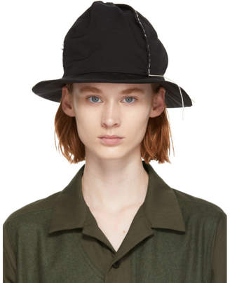 Y's Ys Black Gabardine 4-Panel Cloche Hat