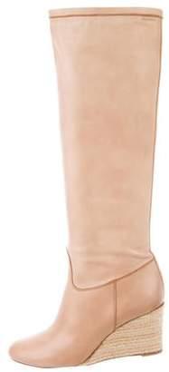 Santoni Leather Round-Toe Knee-High Boots