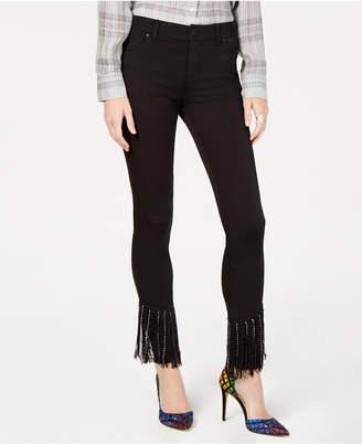 INC International Concepts I.n.c. Black Fringe-Hem Skinny Jeans