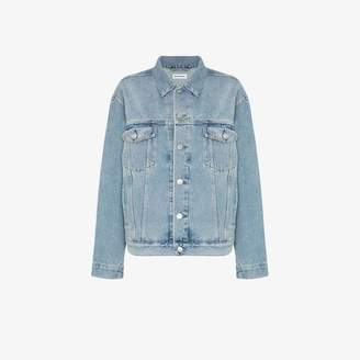 Balenciaga crystal-embellished logo denim jacket