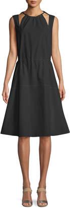 Derek Lam Sleeveless Halter Cotton Cami Dress w/ Seamed Skirt