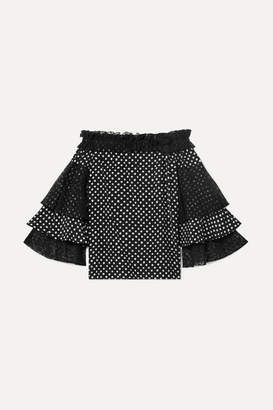Michael Kors Off-the-shoulder Lace-trimmed Polka-dot Silk Crepe De Chine Top - Black