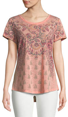 Co STYLE AND Floral-Print Hi-Lo Tee