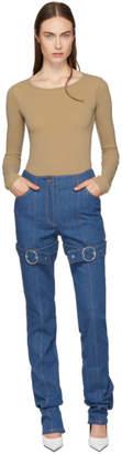Kreist Blue High-Rise Buckled Jeans
