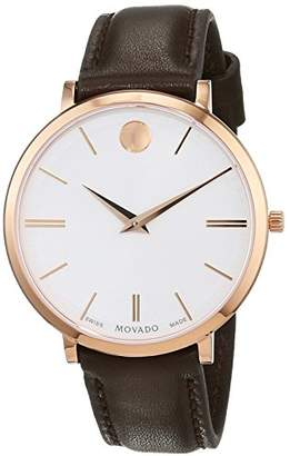 Movado Womens Analogue Classic Quartz Watch with Leather Strap 607093