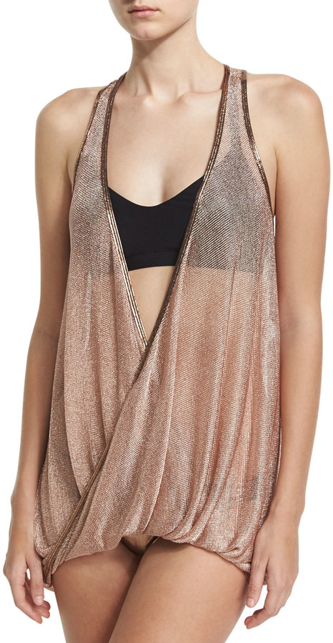Luxe by Lisa Vogel Chain Reaction Mesh Tankini and Racerback Swim Top, Black 3