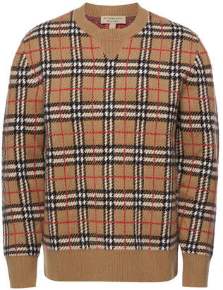 Burberry Banbury Checked Cashmere Pullover