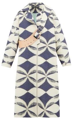 Chopova Lowena - Leather Strap Wool Blend Coat - Womens - Blue