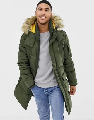 Bershka parka in khaki with faux fur hood
