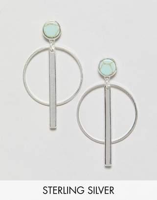 Pilgrim gold plated hoop and bar drop earrings