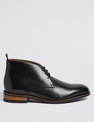 Marks and Spencer Extra Wide Leather Lace-up Chukka Boots