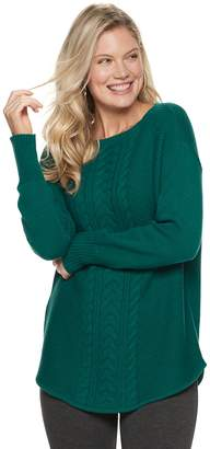 Chaps Women's Cable-Knit Boatneck Sweater