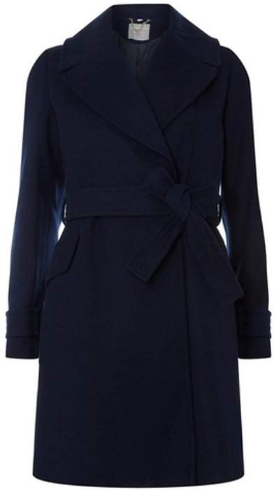 Womens Petite Navy Belted Wrap Coat