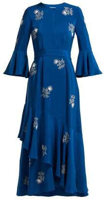 Erdem Florence Bead Embroidered Silk Dress - Womens - Blue White