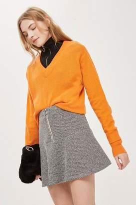 Topshop Salt And Pepper Peplum Hem Mini Skirt