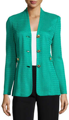 Misook Textured Gold-Button Jacket, Petite