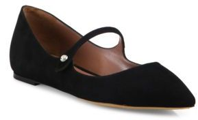 Tabitha Simmons Hermione Velvet Point Toe Mary Jane Flats $695 thestylecure.com