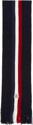 Moncler Navy Flag Stripes Wool Scarf