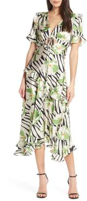 Jill Stuart Tropical Print Ruffle Dress