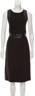 Gucci Leather-Trimmed Sleeveless Dress w/ Tags