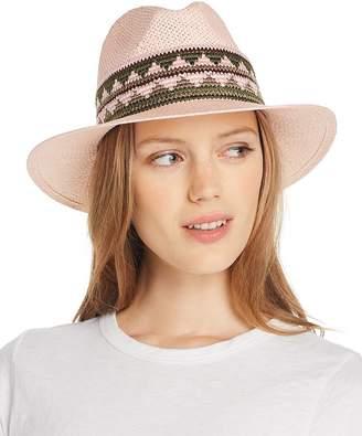 Aqua Geometric-Trim Panama Hat - 100% Exclusive
