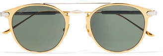 Cartier Eyewear Round-frame Gold-plated And Silver-tone Sunglasses