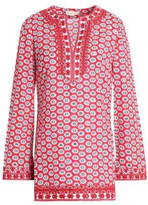 Tory Burch Sequin-Embellished Embroidered Floral-Print Cotton Tunic