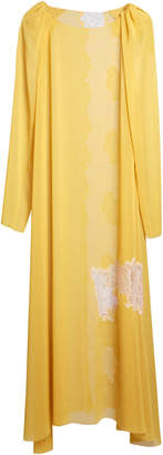 Lake Studio Lace-Paneled Gauze Maxi Shift Dress