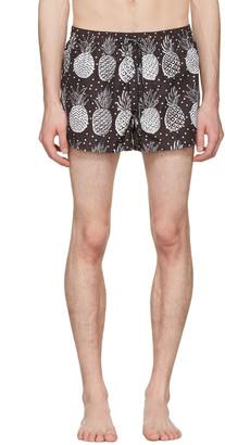Dolce & Gabbana Black & White Pineapple Swim Shorts $445 thestylecure.com