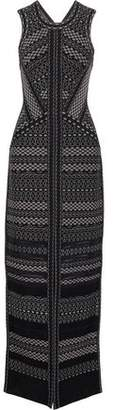 Herve Leger Jacquard-Knit Gown