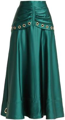 Self-Portrait Eyelet-embellished satin midi skirt