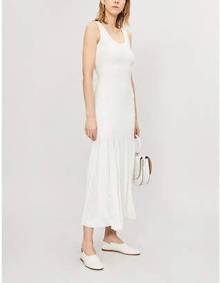 ad0e6d2d457 Theory White and Cream Pleated Stretch Knitted Midi Dress