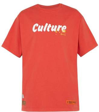 Heron Preston Culture Print Cotton T Shirt - Mens - Red
