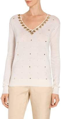 St. John Jersey Knit V-Neck Embellished Sweater