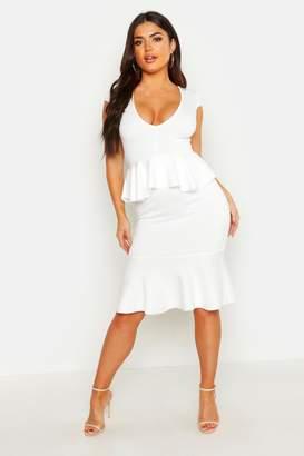 boohoo Peplum Midi Dress