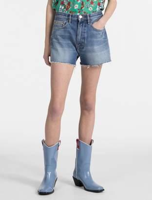 Calvin Klein light wash high rise denim shorts