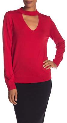 Trina Turk Graham Front Cutout Merino Wool Pullover