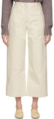 Studio Nicholson Off-White Ticking Panel Utility Jeans