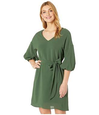 Adrianna Papell Gauzy Crepe Bubble Sleeve Dress with Tie Waist