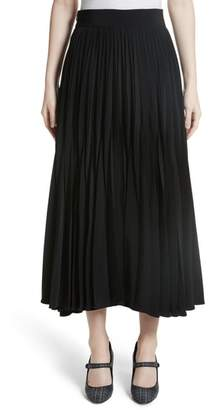 Co Pleated Stretch Crepe Midi Skirt