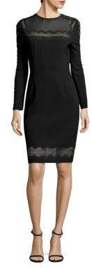 Elie Tahari Candice Crepe Lace Trim Dress $548 thestylecure.com