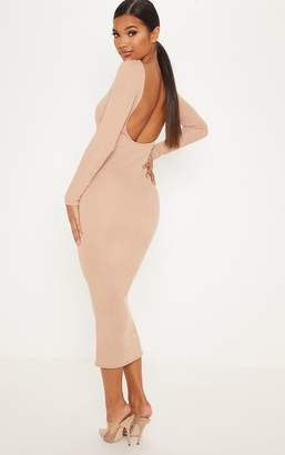 PrettyLittleThing Chocolate Brown Open Back Rib Midaxi Dress