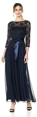 Emma Street Women's Gown with Beaded Lace Top Over Chiffon Skirt